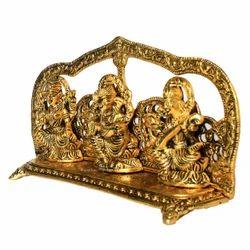 Rajasthan Craft Art Golden (Gold Plated) White Metal Golden Laxmi Ganesha Saraswati Frame Idol
