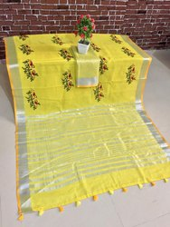 Linen Saree With Work