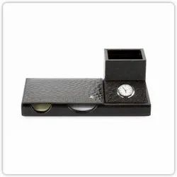 Available in Black and Brown Leather and Wood Office Accessories