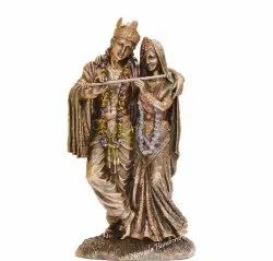 Copper Finish Standing Radha Krishna Statue Hindu God Idol Figurine