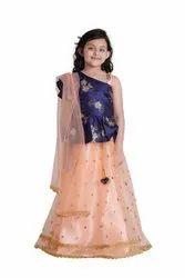 Net Peach Adiva Kids Party Wear Lehenga Choli Set For Girls