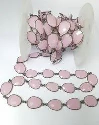 Pink Chalcedony Oxidized Plated Gemstone Bezel Connector Chain Finding Jewelry