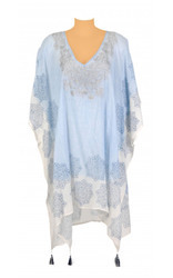 Printed & Embroidered Beach Kaftan with Tassels