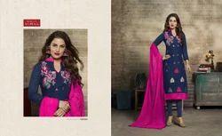 Collar Neck 3/4 Sleeve Salwar Suit Fabric