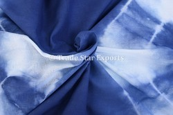 Blue Cotton Indian Shibori Indigo Fabric, For Dress
