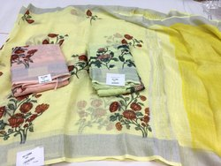 Digital linen saree