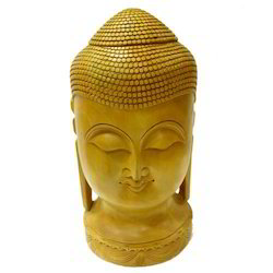 Natural Wooden Carving Buddha Head