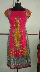 Rayon Half Sleeves Printed Dashiki Women Clothes