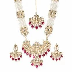 Wedding Red Raani Haar Necklace Earring Maang Tikka Set