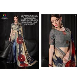 Rachna Linen Silk Digital Printed Portrait Again Catalog Saree For Women 4