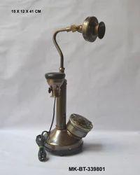 Antique Brass Reproduction Telephone, Size: 15 X 12 X 41 Cm