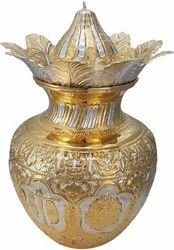 Pure Silver Ashta Mangala Kalash (Gold Accent)