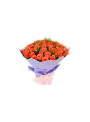 Bunch Of 20 Orange Roses Packed