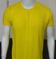 Cotton Half Sleeve Yellow Mens Round Neck T Shirt