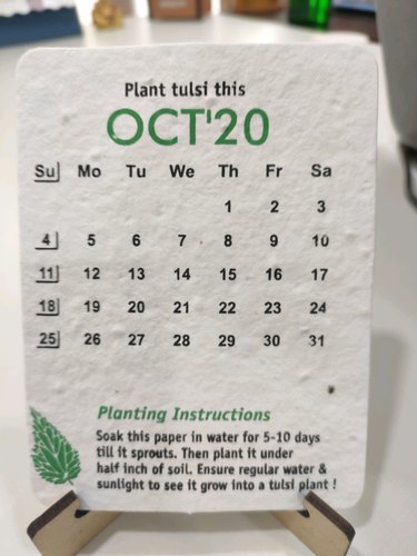 2020 English Recycled Seed Calendar, For Office   ID