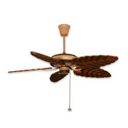 Hand Polished Natural Shades Basil Contemporary Wooden Ceiling Fan