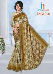 Jaguar Print Border Saree