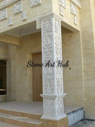 White Carved Stone Pillar