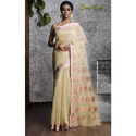 Khadi Chanderi Cotton Saree In Off-white And Copper