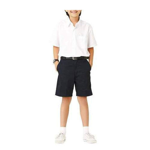 1101c8304d White And Black Plain Kids Boys School Shirt And Half Pant