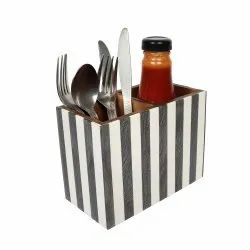 MDF Wooden Cutlery Stand/Holder Pearl Finish