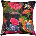 Cotton Indian Black Embroidered Handmade Decorative Kantha Pillow, Size: 16 X 16