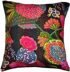 Indian Black Embroidered Handmade Decorative Kantha Pillow