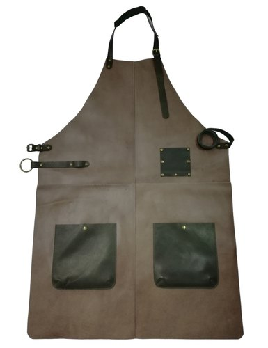 f1cb9c27766 100% Genuine Leather Apron Bib Barista Baker Bartender BBQ Chef Barber  Uniform Taupe