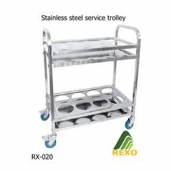 Rexo Stainless Steel Service Trolley, Model Name/Number: Rx020, Load Capacity: 70 Kg