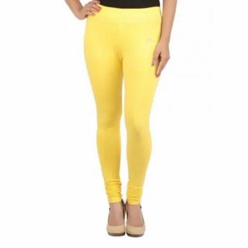 Cotton Churidar Ladies Yellow Colored Legging