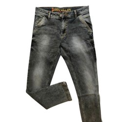 Black Denim Mens Faded Jeans, Waist Size: 28-38 Inch