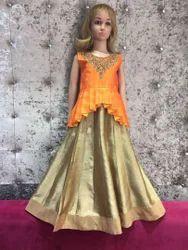 Orange Girls Floor Length Dress