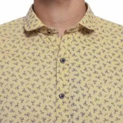 Cotton Simple Collar Casual Printed Shirt, Size: 40