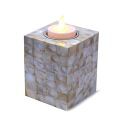 Mother Off Pearl Candle Holder Square