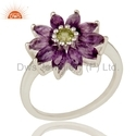 Flower Sterling Silver Amethyst Gemstone Rings