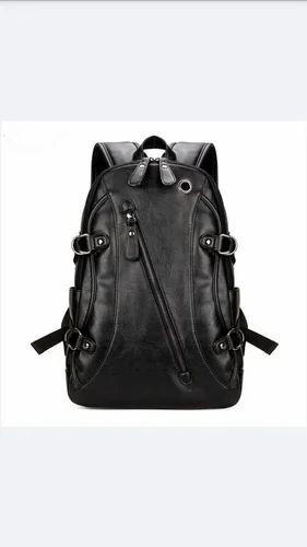Black Mens Travel Leather Backpack