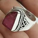 Charming 925 Sterling Silver Pink Druzy Ring