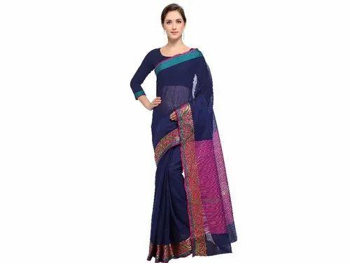 Plain Casual Wear Navy Blue and Pink Colored Maheshwari Poly Cotton Saree