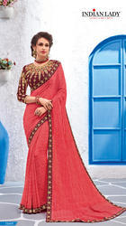 Pink Color Georgette Sari