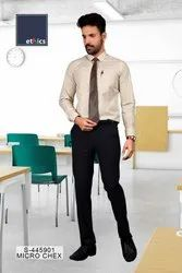 Beige Micro Chex Formal Uniform Unstitched Shirts And Pant  for Corporate Office