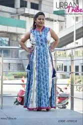 Straight 3/4th Sleeve Nine2Five Printed Rayon Cotton Navy Blue and Off White Anarkali Dress