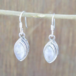 925 Sterling Silver Royal Jewelry Rainbow Moonstone New Earring