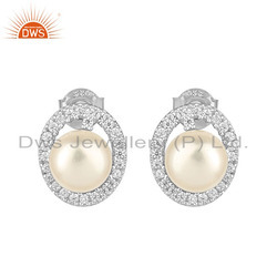 Oval Shape CZ Natural Pearl White Rhodium Plated Silver Stud Earrings