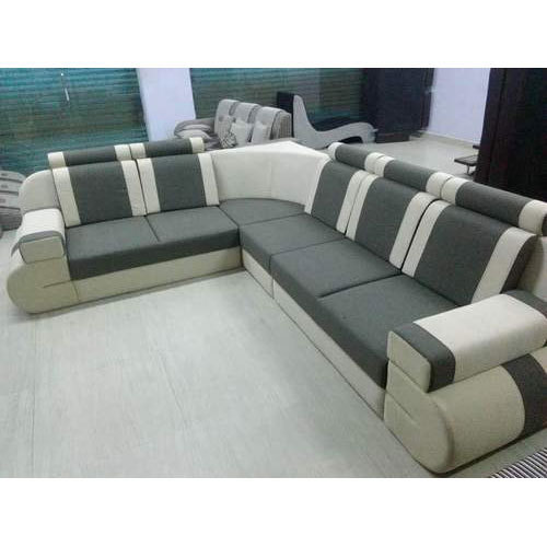 Solid Wood And Cotton L Shaped Corner Sofa Set Width 2
