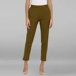 Janasya Women's Green Pure Cotton Narrow Pant(BTM027)