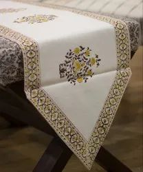 Jaipuri Cotton Floral Hand Block Printed Yellow and White Table Runner