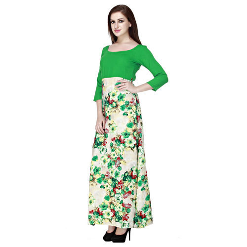 989275cb13a Cottinfab Women  s Viscose Rayon Floral Green Maxi Dress