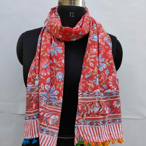 Handmade Printed Scarf with Pompoms Soft Cotton