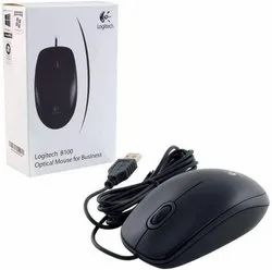Black Wired Logitech B 100- Wire Mouse