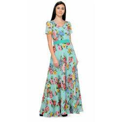 3414bcbb3b Sea Green Half Sleeves Ladies Floral Print Long Gown, Rs 1085 /piece ...